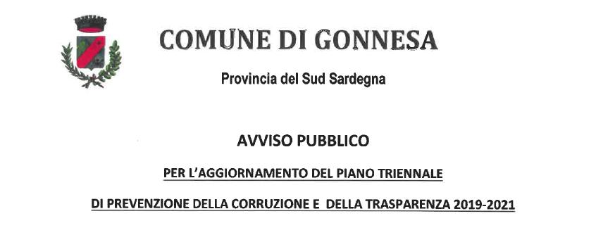 AVVISO PUBBLICO PER L'AGGIORNAMENTO DEL PIANO TRIENNALE DI PREVENZIONE DELLA CORRUZIONE E DELLA TRASPARENZA 2019-2021