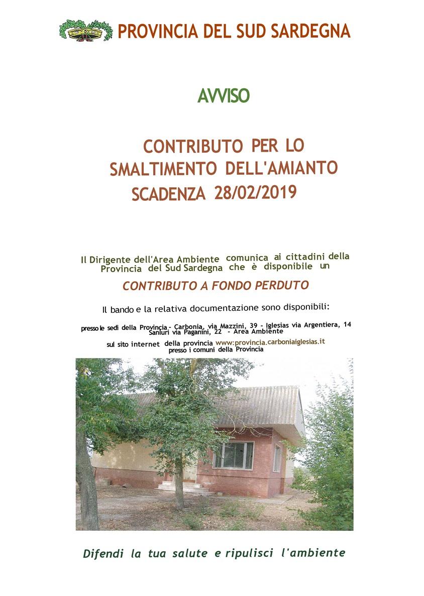 CONTRIBUTO PER LO SMALTIMENTO DELL'AMIANTO SCADENZA 28/02/2019