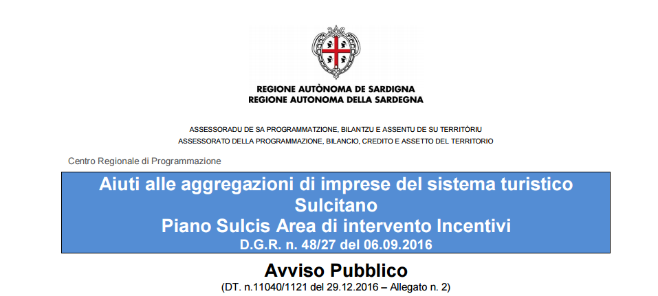 Piano Sulcis Area di intervento Incentivi