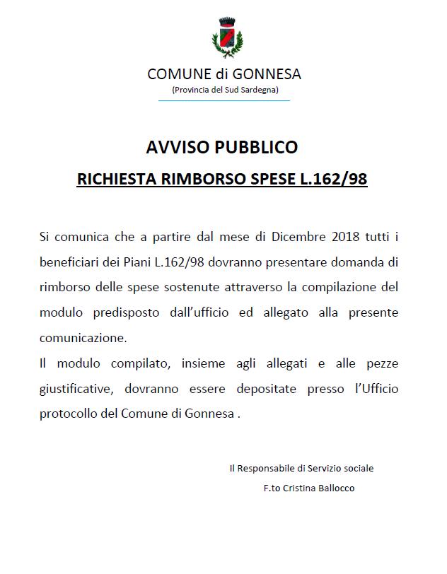 RICHIESTA RIMBORSO SPESE L.162/98