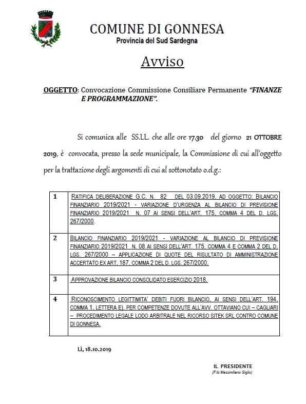 Convocazione Commissione Consiliare Permanente FINANZE E PROGRAMMAZIONE