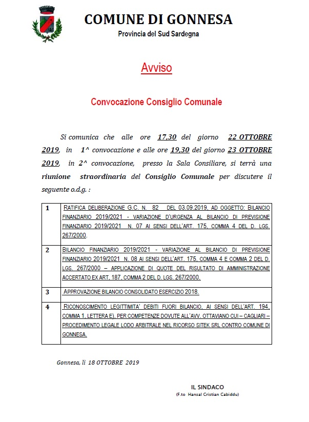 Convocazione Consiglio Comunale del 22 Ottobre