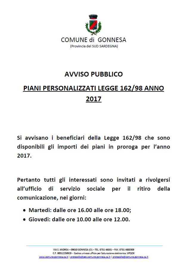 AVVISO PUBBLICO PIANI PERSONALIZZATI LEGGE 162/98 ANNO 2017