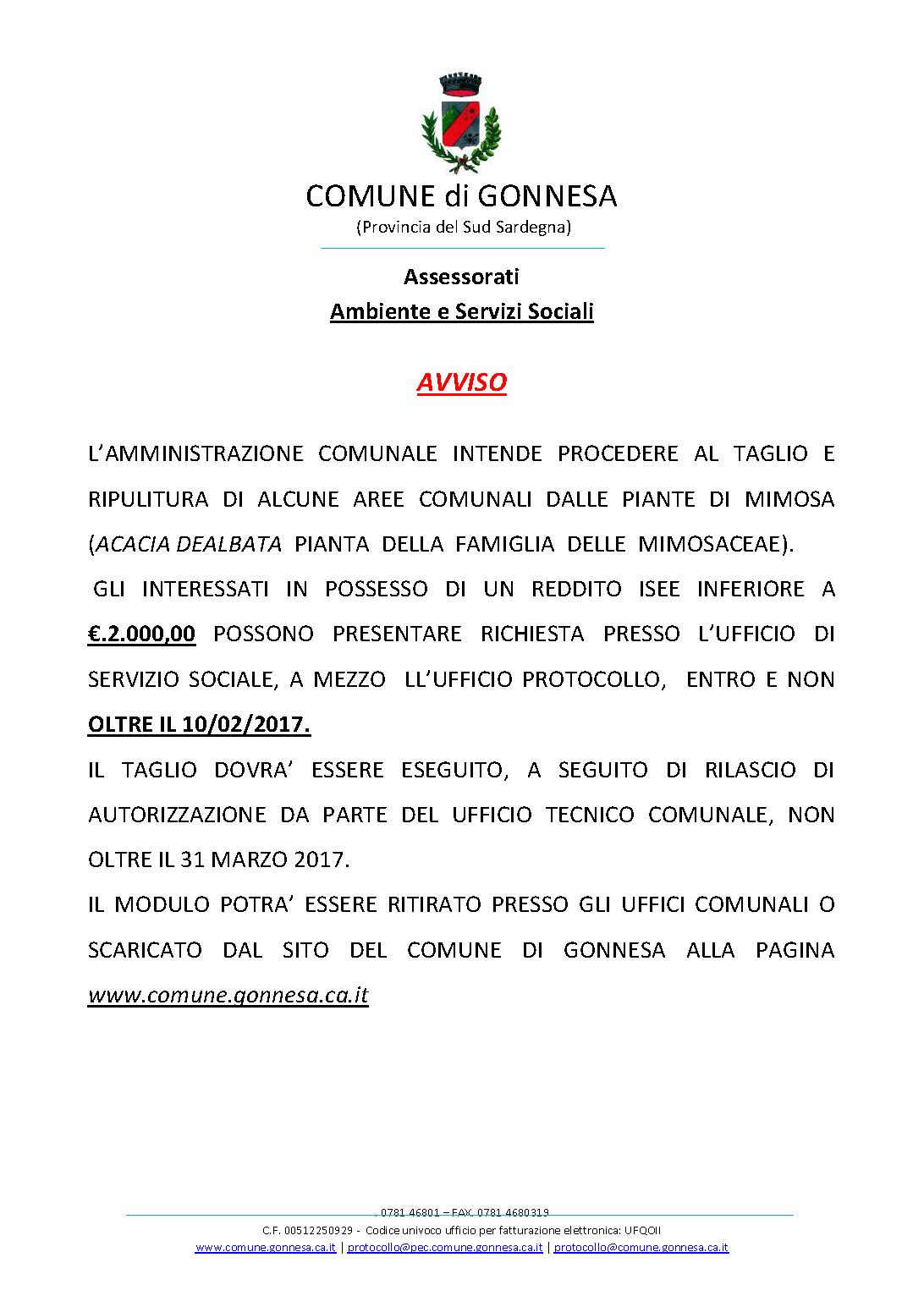 AVVISO TAGLIO MIMOSE