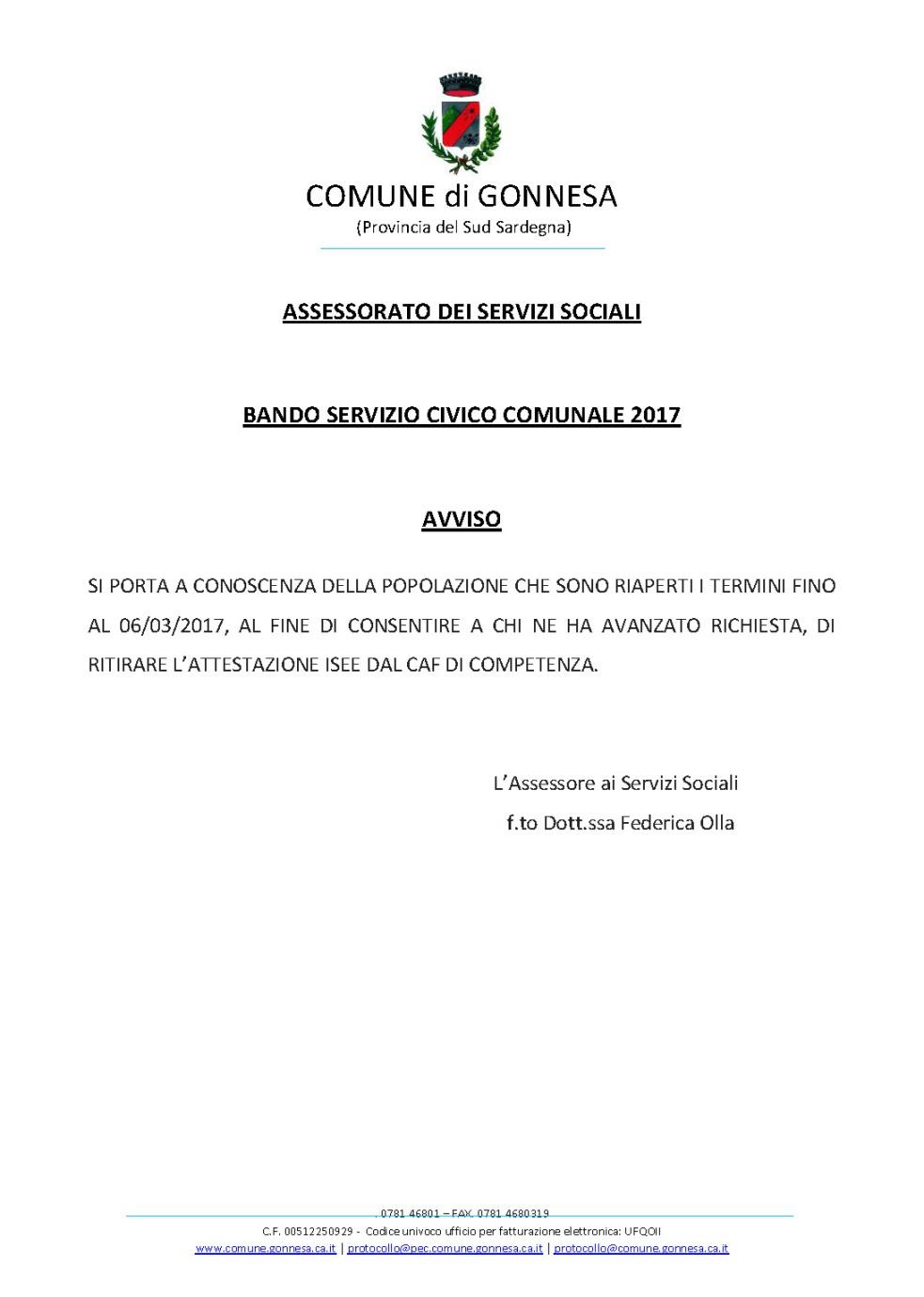 BANDO SERVIZIO CIVICO COMUNALE 2017
